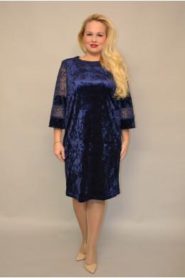 982. Платье из бархата цвет Темно-синий