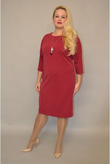 986. Платье из Креп-стрейча цвет Бордо с Люрексом