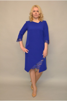 987. Платье из Крепа и Гипюра цвет Василек