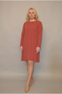 989. Платье из Креп-стрейча цвет Терракот с люрексом