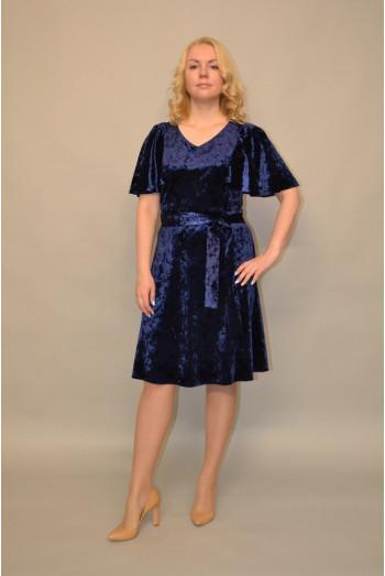 990. Платье из бархата цвет Темно-синий