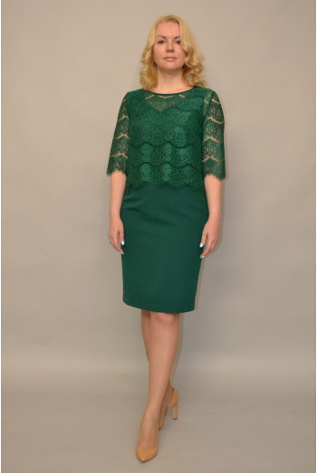 991. Платье из Крепа и Гипюра цвет Зеленый