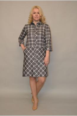992. Платье из Костюмной ткани в Клетку
