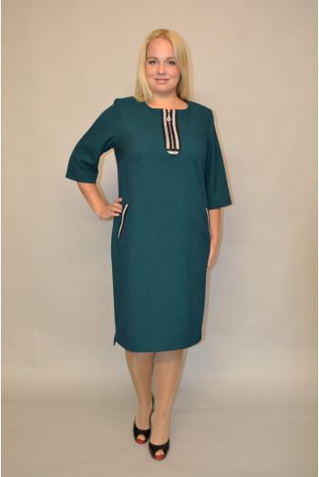 962. Платье из Костюмной ткани цвет Зеленый обработка тесьма