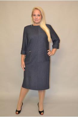 948. Платье из костюмной ткани Темно-Синего цвета с узкой полосой