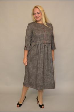 951. Платье из Костюмной ткани Меланж с Красной крапинкой