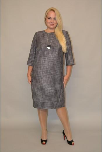 947. Платье из костюмной ткани Серого цвета с полосой Люрекс.