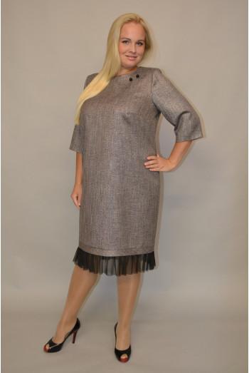 965. Платье из Костюмной ткани цвет Серый с люрексом отделка Сетка